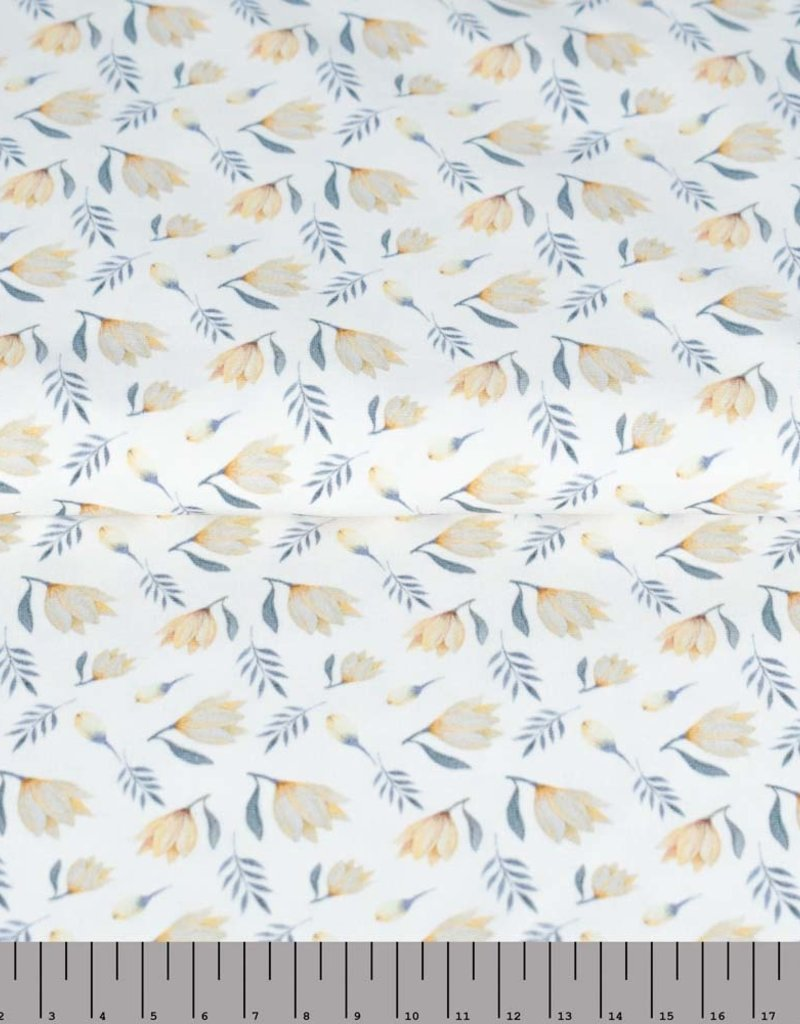 100x150 cm cotton jersey digital print vintage tulips offwhite Blooming Fabrics
