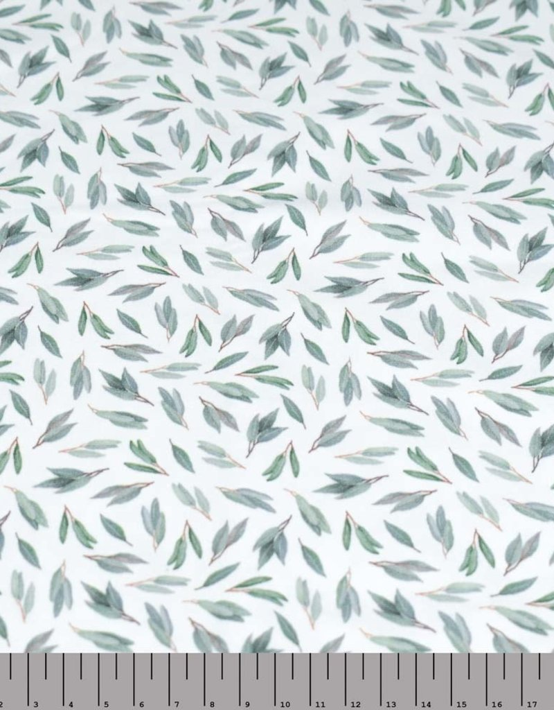 100x150 cm cotton jersey digital print green leaves offwhite Blooming Fabrics