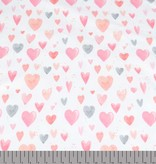 100x150 cm cotton jersey digital print pink hearts offwhite Blooming Fabrics