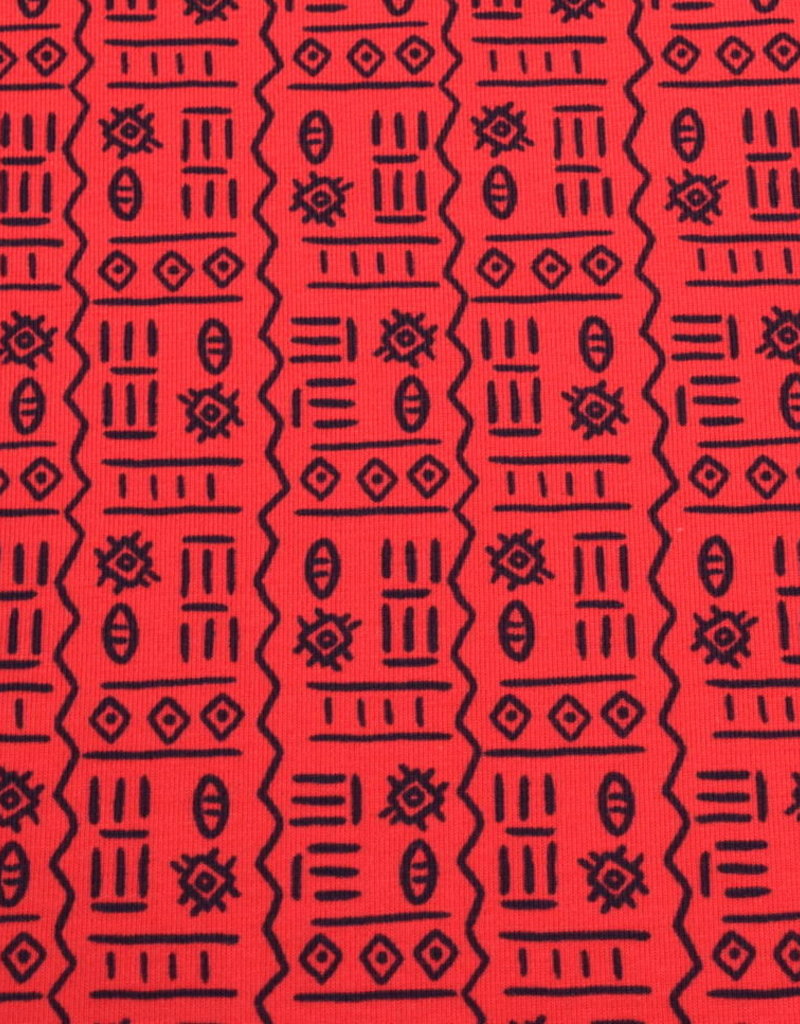 100x150 cm cotton jersey Egyptian characters red