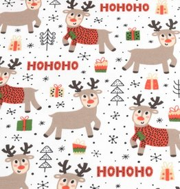 100x150 cm cotton jersey christmas reindeer offwhite