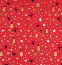 50x140 cm cotton christmas snowflakes, stars, trees red/gold