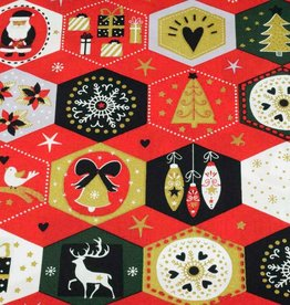 50x140 cm cotton christmas hexagons red/gold