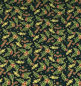 50x140 cm cotton christmas holly navy/gold