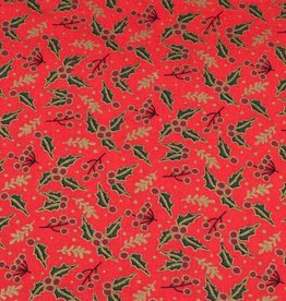 50x140 cm cotton christmas holly red/gold
