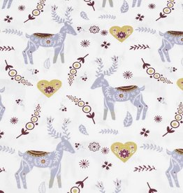 50x140 cm cotton christmas reindeer offwhite/gold