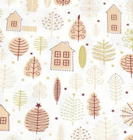 50x140 cm cotton christmas houses offwhite/gold