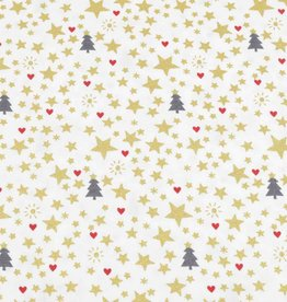 50x140 cm cotton christmas trees and stars offwhite/gold