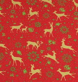 50x140 cm baumwolle christmas Rentiere rot/gold