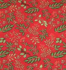 50x140 cm cotton christmas plants/leaves red