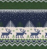 100x150 cm French Terry brushed christmas knitting motif reindeer navy