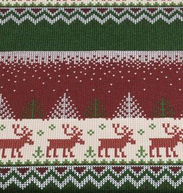 100x150 cm French Terry brushed christmas knitting motif reindeer bordeaux