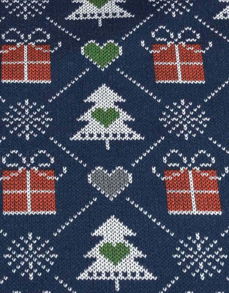 100x150 cm French Terry brushed christmas knitting motif presents navy