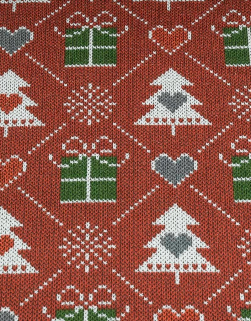 100x150 cm French Terry brushed christmas knitting motif presents bordeaux
