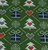 100x150 cm French Terry brushed christmas knitting motif presents dark green