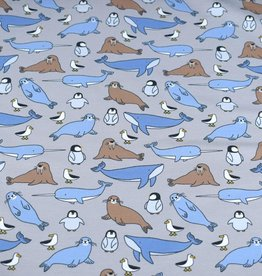 100x150 cm french terry brushed sea animals grey