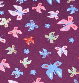 100x150 cm french terry butterflies purple/violet