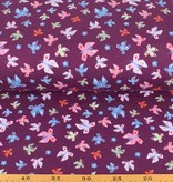 100x150 cm sweat/french terry vlinders paars/violet