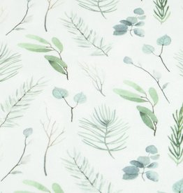 100x150 cm cotton jersey digital print leaves green/offwhite