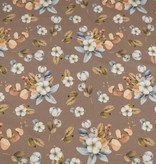 100x150 cm cotton jersey digital print flowers brown/taupe