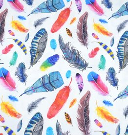 100x150 cm cotton jersey digital print feathers offwhite/multicolor