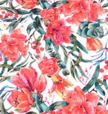100x150 cm cotton jersey digital print flowers offwhite/red