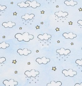 100x150 cm french terry digital printed brushed clouds light blue