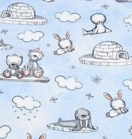 100x150 cm french terry digital printed brushed animals and igloos light blue