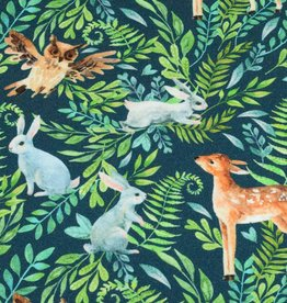 100x150 cm french terry digital printed brushed forest animals navy