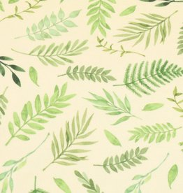 100x150 cm french terry digital printed brushed leaves light yellow/offwhite