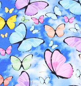 100x150 cm french terry digital printed brushed butterflies blue/multicolor