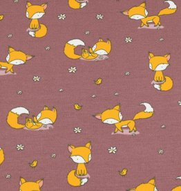 100x150 cm cotton jersey foxes old pink