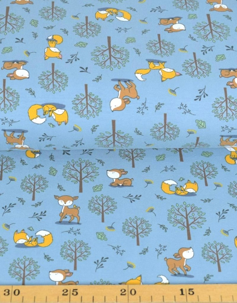 100x150 cm cotton jersey foxes and deer steel blue