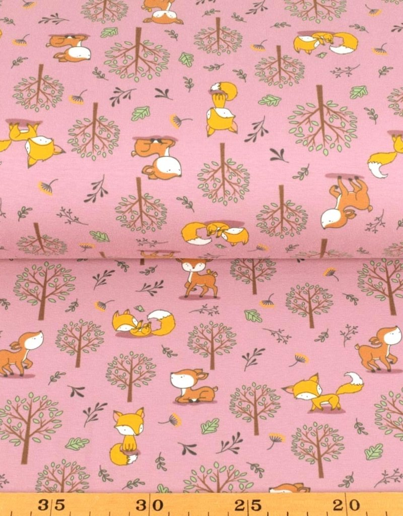 100x150 cm cotton jersey foxes and deer old pink