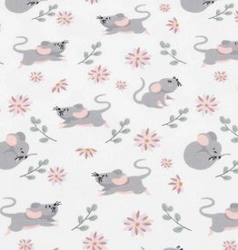 100x150 cm cotton jersey mice with flowers offwhite