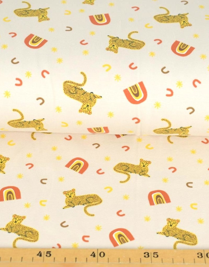 100x150 cm cotton jersey leopards offwhite/light yellow
