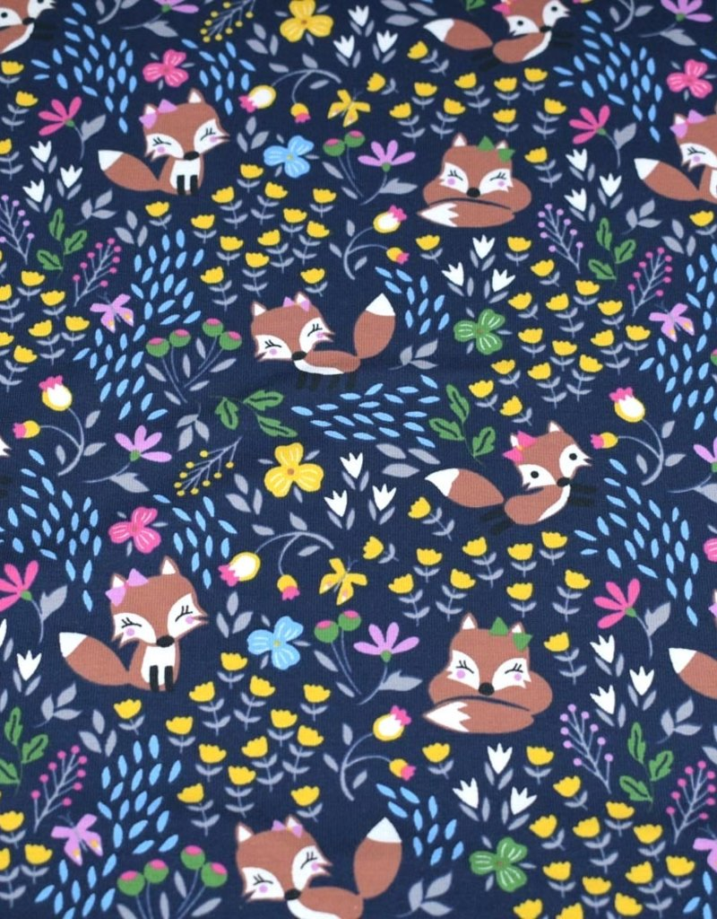 100x150 cm cotton jersey foxes with flowers navy