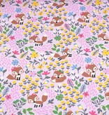 100x150 cm cotton jersey foxes with flowers light pink