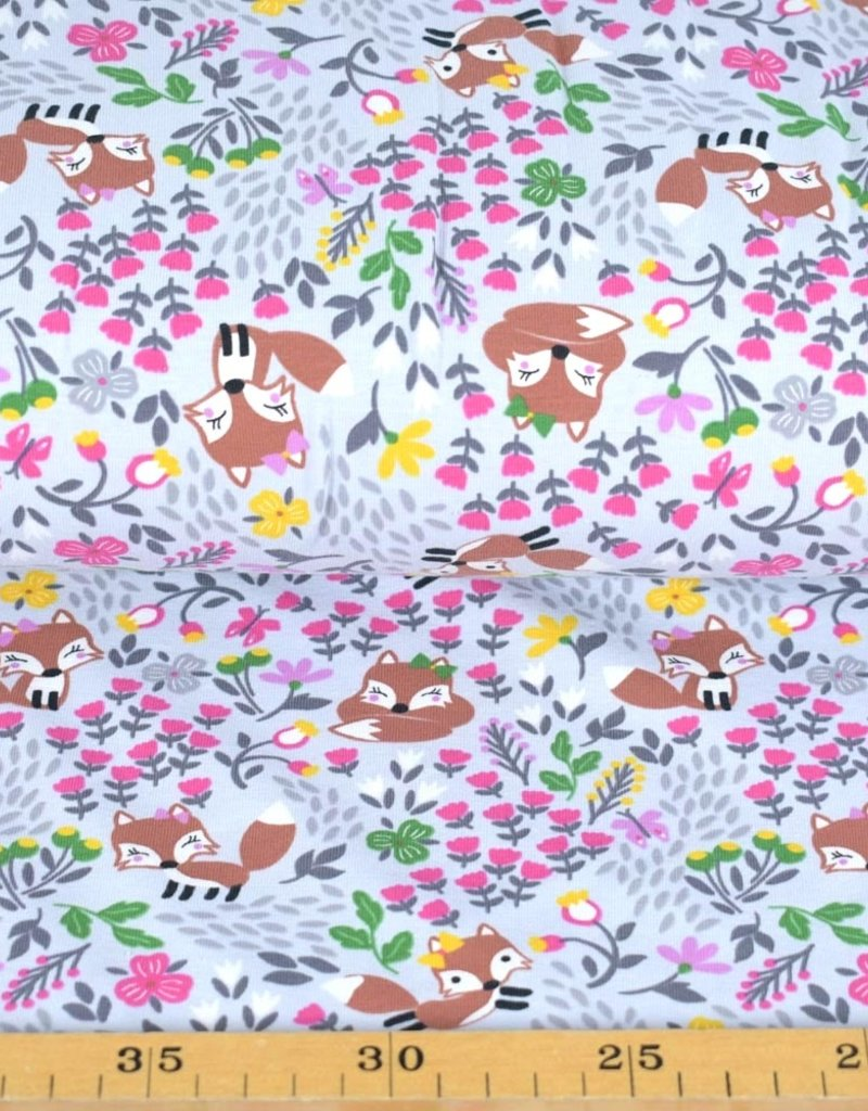 100x150 cm cotton jersey foxes with flowers light grey