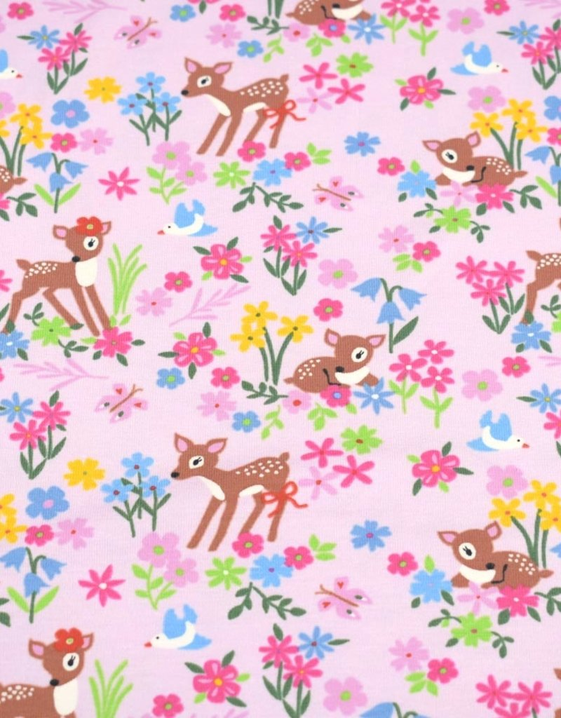 100x150 cm cotton jersey deer with flowers light pink