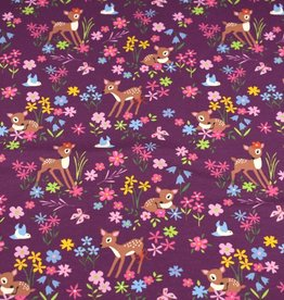 100x150 cm cotton jersey deer with flowers wine-red/purple