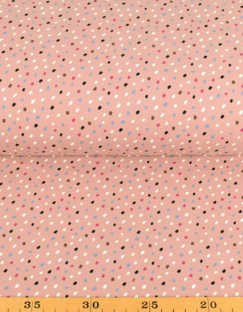 100x150 cm cotton jersey dots old pink