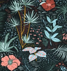 100x150 cm cotton jersey tropical plants old pink