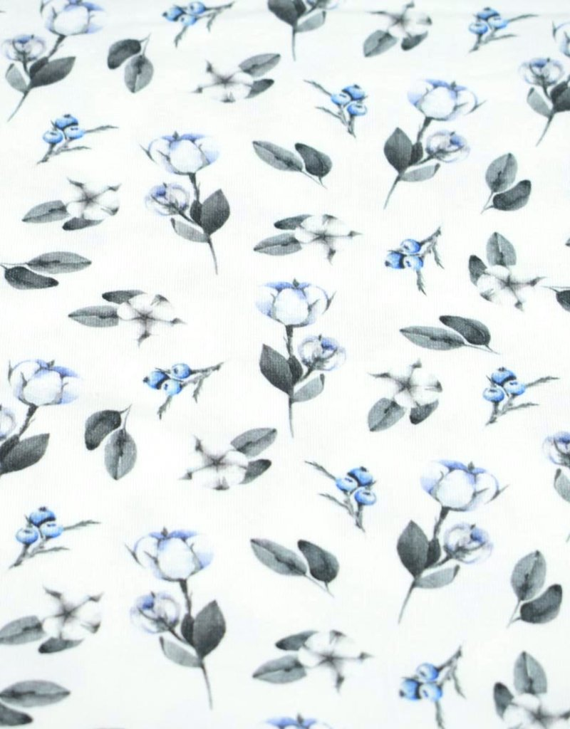 100x150 cm Cotton jersey digital print flowers and blueberries offwhite
