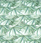 100x150 cm Cotton jersey digital print green leaves offwhite