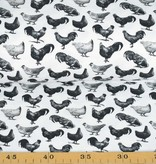 100x150 cm Cotton jersey digital print chickens and roosters offwhite