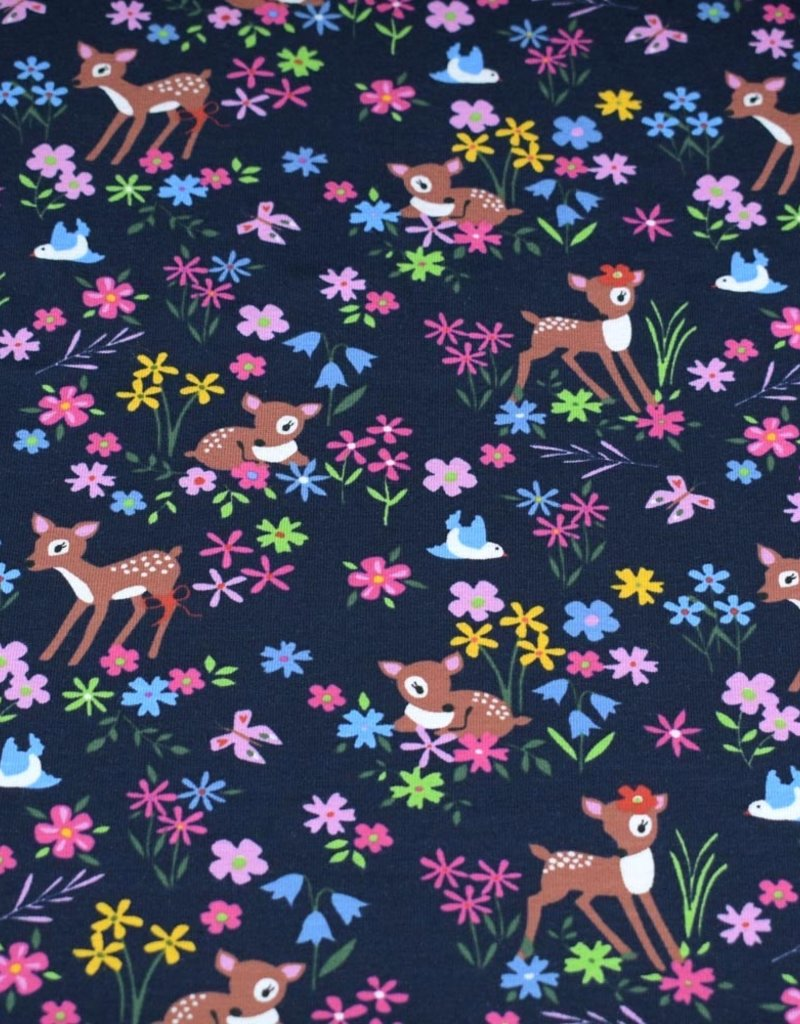 100x150 cm Cotton jersey deer with flowers navy