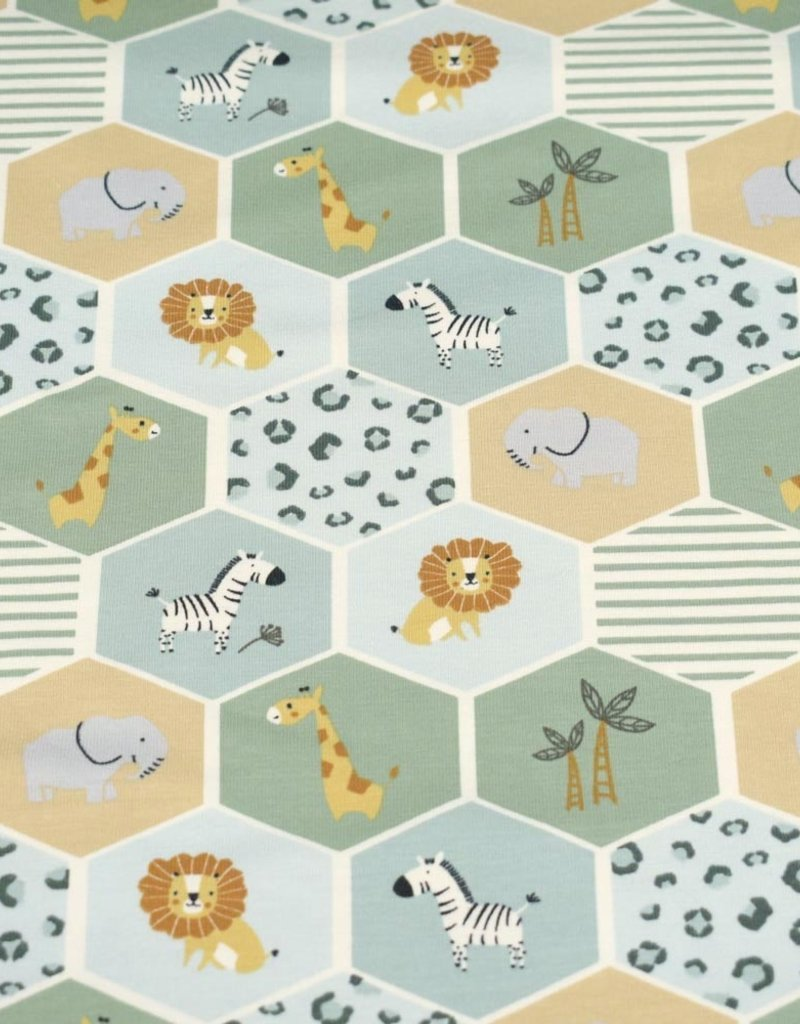 100x150 cm Cotton jersey hexagons with animals mint
