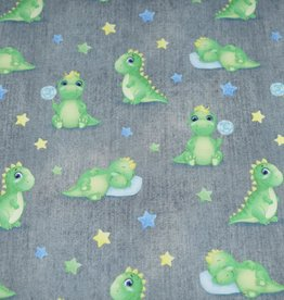 100x150 cm French Terry digital printed brushed dinos grey