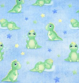 100x150 cm French Terry digital printed brushed dinos light blue